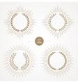 Set of laurel wreath with sunburst line rays vector image vector image