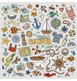 Marine nautical hand symbols and objects vector image
