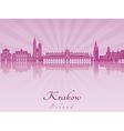 Krakow skyline in purple radiant orchid vector image