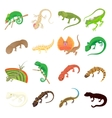 Lizard icons set cartoon style vector image