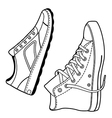 Pair right unisex black outlined sneakers shoes si vector image