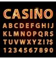 orange neon lamp letters font show casino vector image vector image