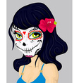 Cartoon girl in dead mask makeup vector image
