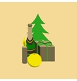 flat on background of Christmas gift vector image