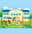 four students in the school playground vector image