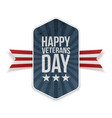 happy veterans day festive label with text vector image