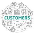 line flat circle customers vector image