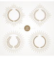 Set of laurel wreath with sunburst line rays vector image