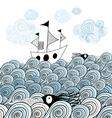 ship and sea waves vector image
