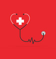 stethoscope in the shape of a heart with pulse vector image