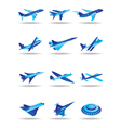 Different airplanes in flight icons set vector image