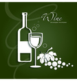 Wine glass and grapes vector image
