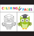 coloring book page wise owl wearing glasses vector image