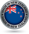Made in New Zealand silver label with flag vector image