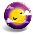Halloween night on round badge vector image