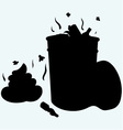 Trash bin full of garbage and feces vector image vector image