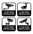 Cctv labels set symbol security camera pictogram vector image