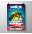 Summer Beach Party Flyer Design with travel van vector image vector image