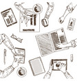business teamwork sketch concept vector image