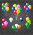 colorful helium balloons set on transparent vector image