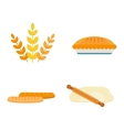 fresh baked bread products icons vector image