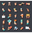 Hands Symbols Accessories Icons Set Flat Design vector image