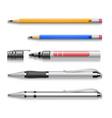 Pens pencils markers realistic set of vector image