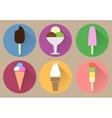 Six flat ice creams icons vector image