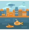 steampunk city vector image
