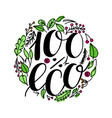 100 percent eco food menu icons hand written vector image