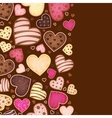 vertical chocolate background for text with heart vector image vector image