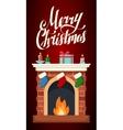 Christmas fireplace flat isolated vector image