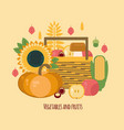 wooden crate with autumn fruits and vegetables vector image
