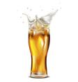 Glass of splashing beer vector image