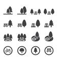 park icon set vector image vector image