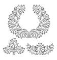 Vintage baroque floral leaf scroll ornament vector image
