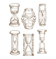 Vintage and modern hourglasses sketch icons vector image vector image