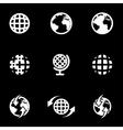 white world map icon set vector image
