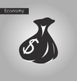 black and white style icon bag with money vector image