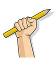 hand in a fist holding a pencil vector image