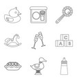 little children toy icons set outline style vector image