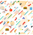 seamless school office supplies pattern vector image
