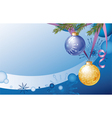 Christmas card with two Christmas balls and fir vector image vector image