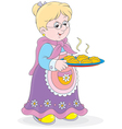 Granny with pies vector image
