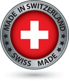Made in Switzerland silver label with flag vector image vector image