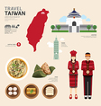 Taiwan Flat Icons Design Travel Concept vector image
