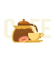 Coffee pot cup and donut vector image