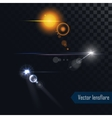 Photo realistic lens flares lights and glow vector image