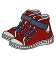 red childrens sneakers vector image