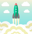 rocket takes off and concept of startup business vector image